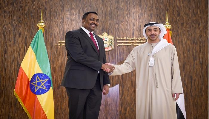 عبدالله بن زايد يبحث مع وزير خارجية إثيوبيا العلاقات الثنائية