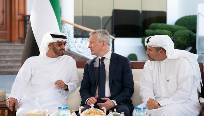 محمد بن زايد يبحث مع وزير المالية الفرنسي تعزيز العلاقات بين البلدين