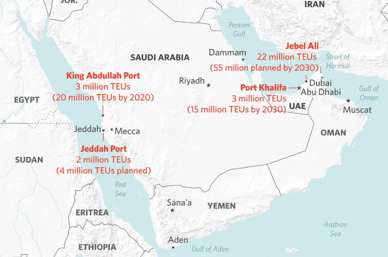 علاقة الجغرافيا والسياسة والشحن بأكبر 5 موانئ في الإمارات والسعودية