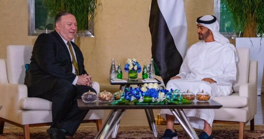 محمد بن زايد يبحث مع وزير الخارجية الأمريكي سبل مواجهة التهديدات الإيرانية