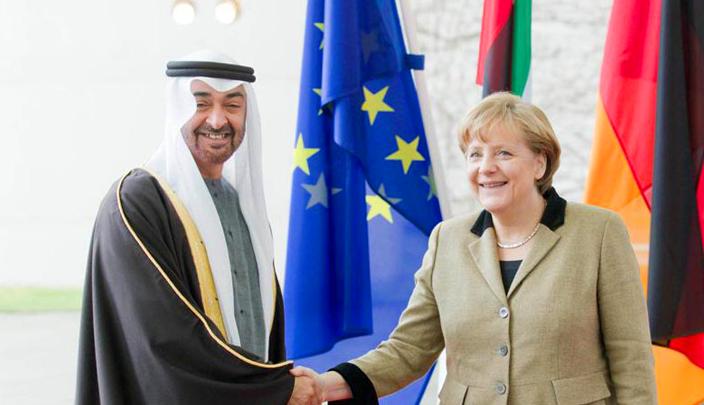 محمد بن زايد يبحث هاتفياً مع المستشارة الألمانية